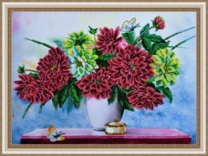 Набор для вышивки бисером Букет георгин Картины бисером Р-178