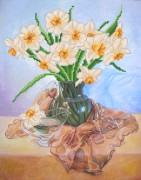 Рисунок на ткани для вышивки бисером Нарциссы