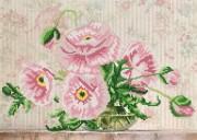 Рисунок на ткани для вышивки бисером Розовые маки