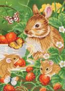 Рисунок на ткани для вышивки бисером Любители земляники