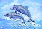 Рисунок на ткани для вышивки бисером Дельфины