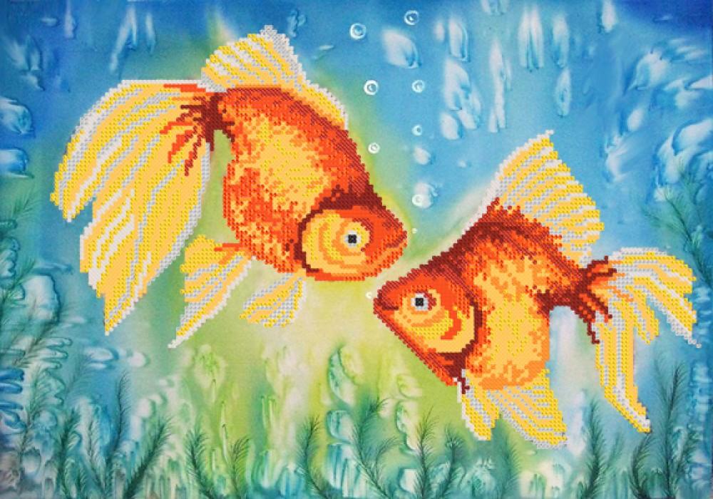 Вышивка золотая рыбка бисером купить