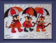 Рисунок на атласе для вышивки бисером Дождик