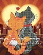 Схема для вышивки бисером на габардине  Влюблённые коты