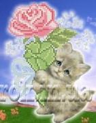 Рисунок на ткани для вышивки бисером Котёнок с розой
