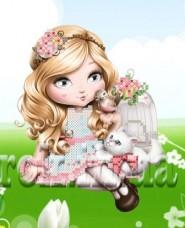 Рисунок на ткани для вышивки бисером Девочка и котёнок Княгиня Ольга СД-142