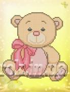 Рисунок на ткани для вышивки бисером Медвежонок с бантом