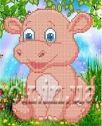 Рисунок на ткани  для вышивки бисером Розовый бегемотик