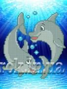 Рисунок на ткани для вышивки бисером Дельфинчики