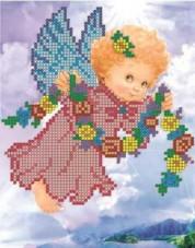 Рисунок на ткани для вышивки бисером Ангелочек с веночком