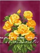 Рисунок на ткани для вышивки бисером Жовтогорячі троянди