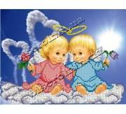 Рисунок на ткани для вышивки бисером Влюблённые ангелочки