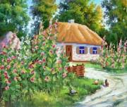 Рисунок на ткани для вышивки бисером Родное село