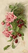 Рисунок на ткани для вышивки бисером Букет с вишнями