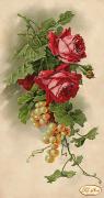 Рисунок на ткани для вышивки бисером Розы и виноград