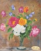 Рисунок на ткани для вышивки бисером Розы и колокольчики