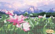 Рисунок на ткани для вышивки бисером Цветы лотоса