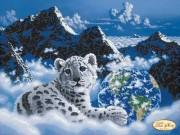 Рисунок на ткани для вышивки бисером Снежный барс. Спасём планету
