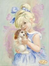 Рисунок на ткани для вышивки бисером Девочка с собачкой Tela Artis (Тэла Артис) Та-088