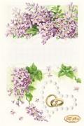 Рисунок на ткани для вышивки бисером Свадебная метрика Сирень