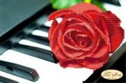 Рисунок на ткани для вышивки бисером Пианино и роза