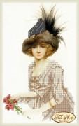Рисунок на ткани для вышивки бисером Дама в меховой шляпе