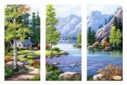 Рисунок на габардине для вышивки бисером Горный пейзаж