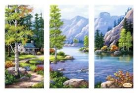 Рисунок на ткани для вышивки бисером Горный пейзаж, , 190.00грн., СК-006, Tela Artis (Тэла Артис), Картины из нескольких частей