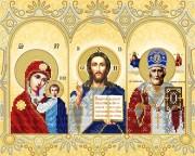 Рисунок на ткани для вышивки бисером Домашний иконостас (золото)