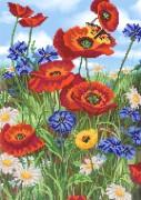 Рисунок на ткани для вышивки бисером Цветущий луг