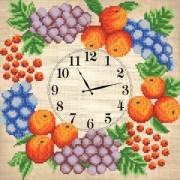 Рисунок на ткани для вышивки бисером Часов Фруктовый веночек