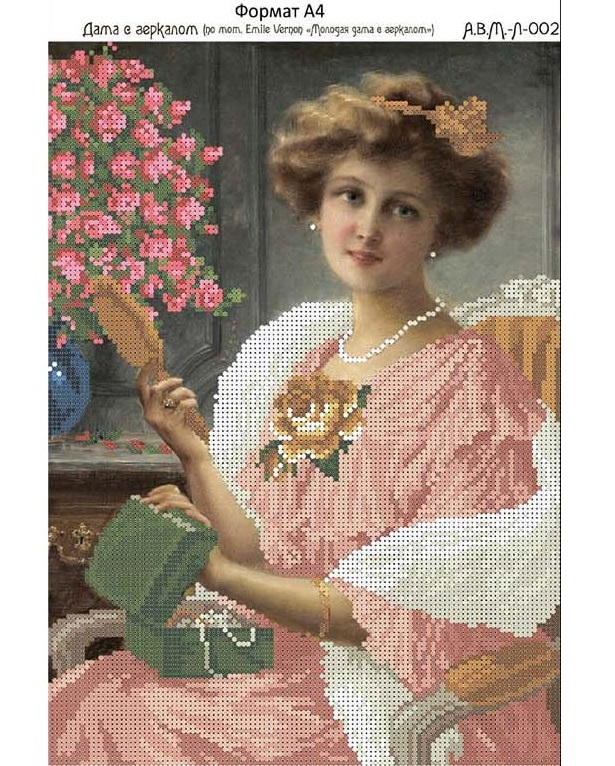 Схема для вышивки бисером дама