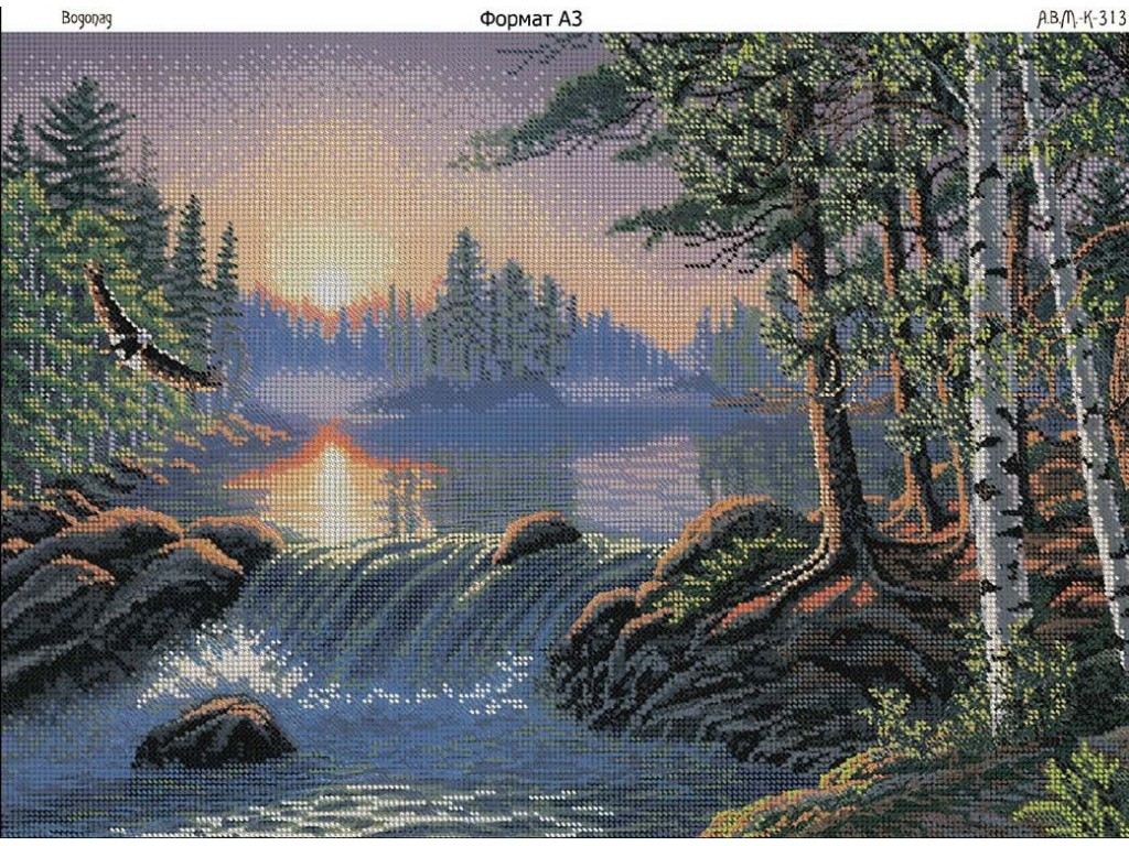 Вышивка бисером водопад схема