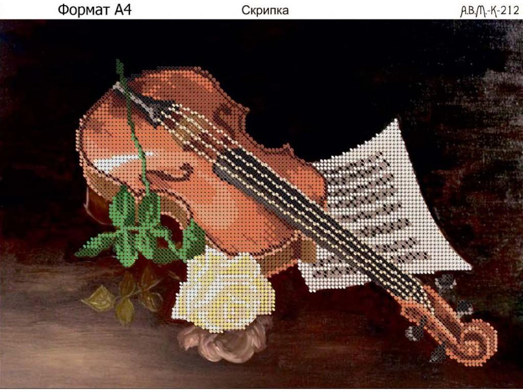 Скрипка вышивка бисером