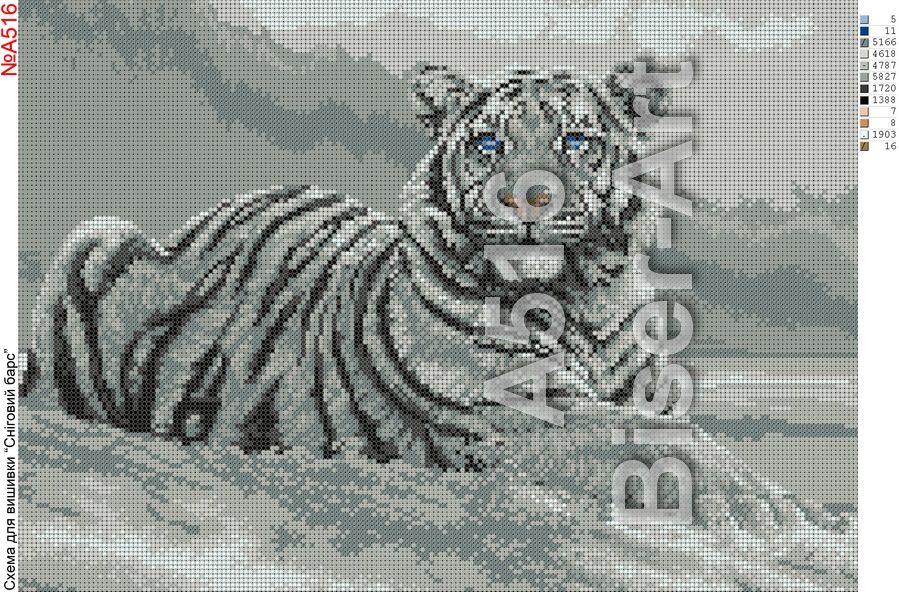 Схемы вышивки тигры большие