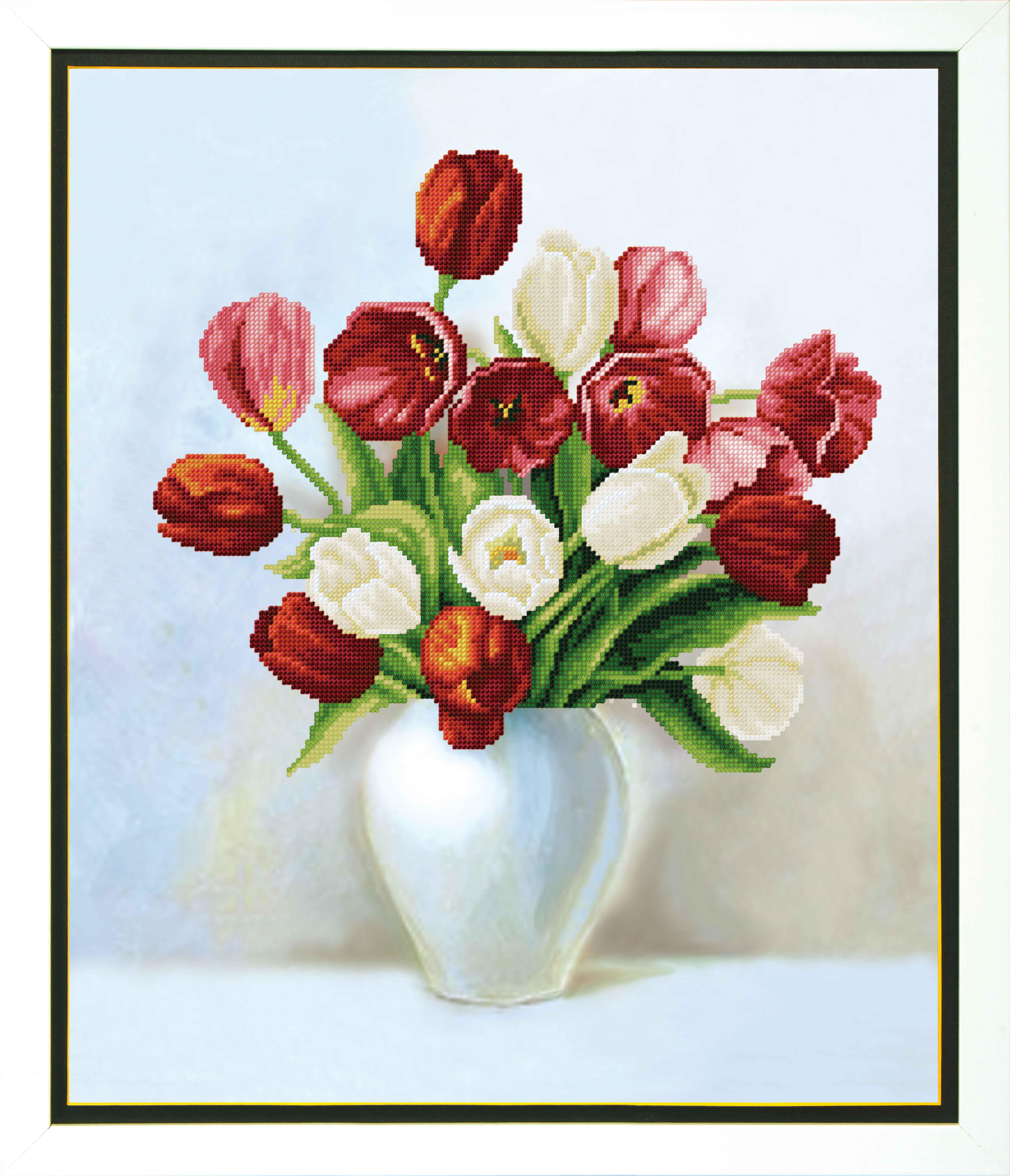 Вышивка цветов тюльпанов