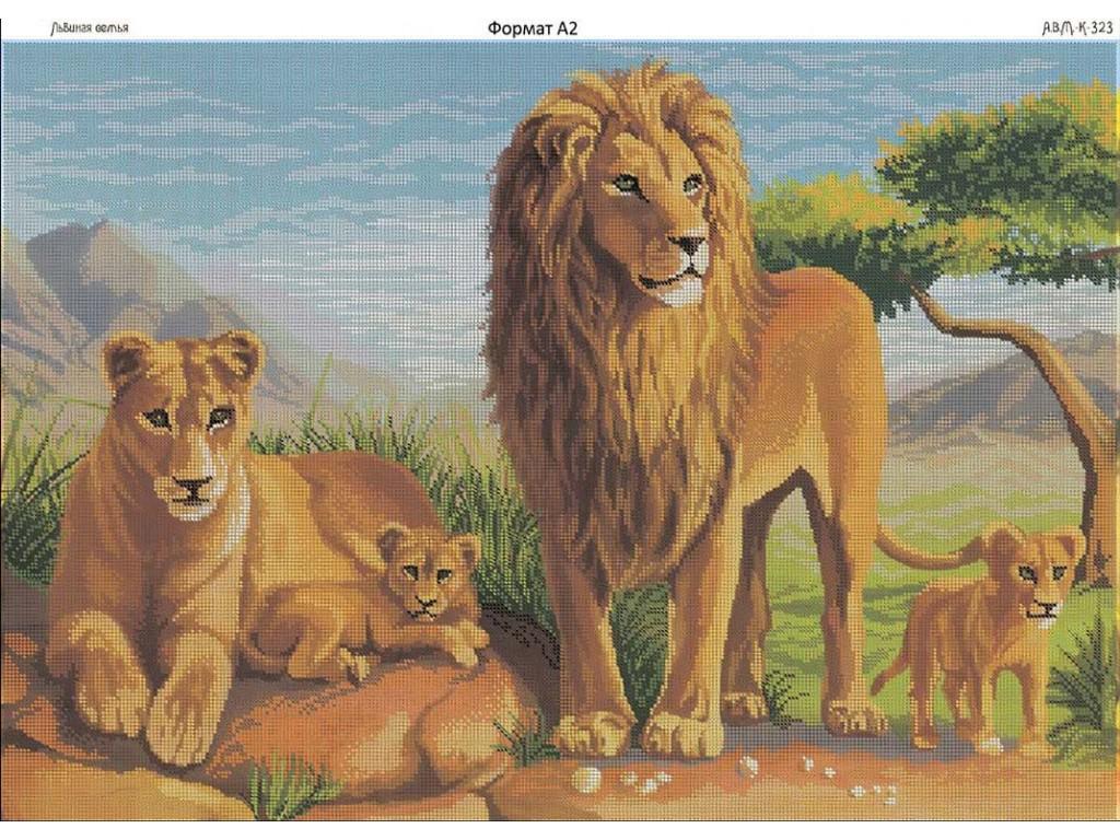 Схемы вышивки бисером львов