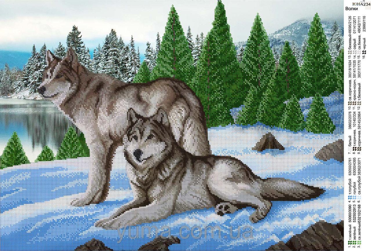 Вышивка волк на снегу