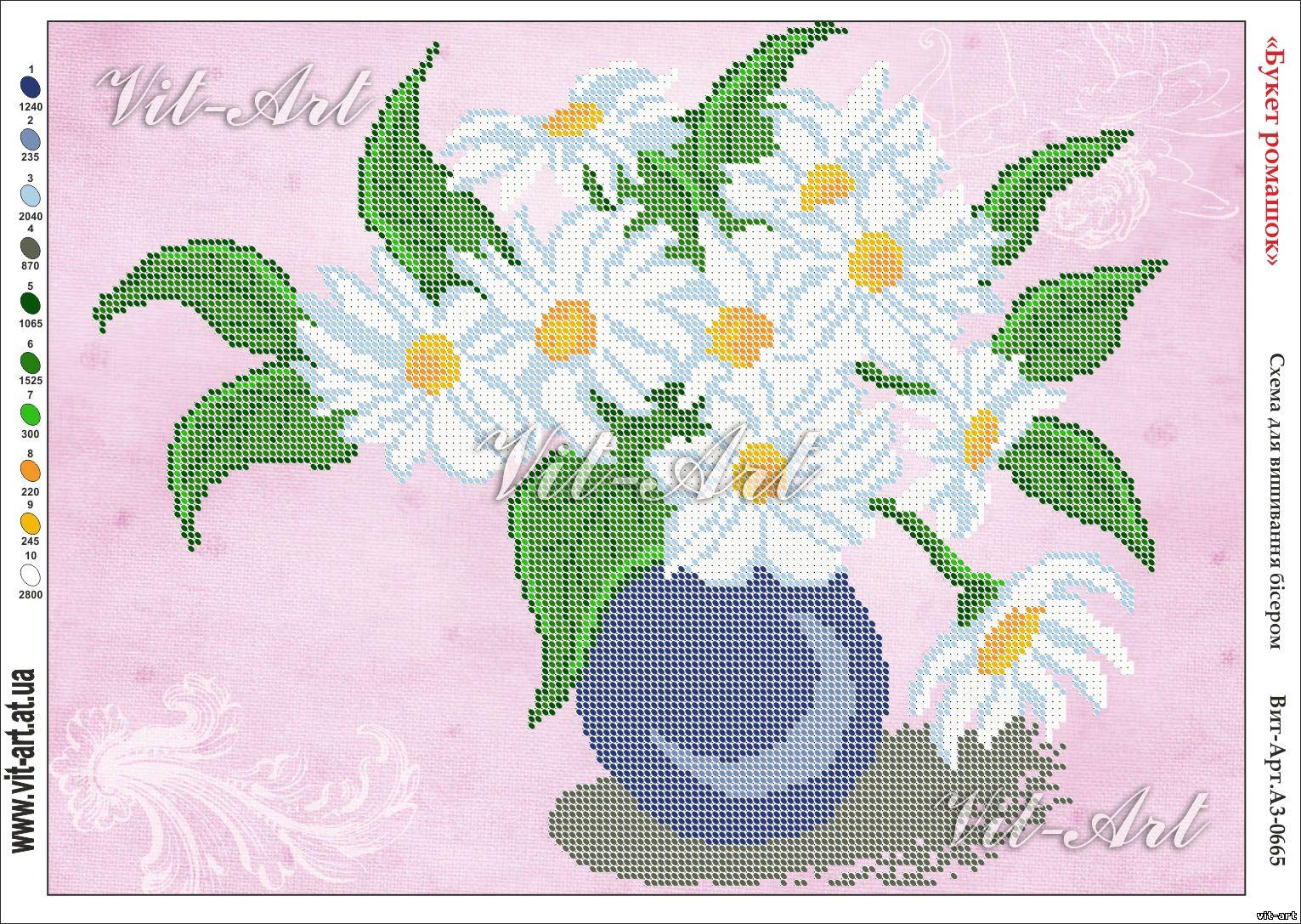 Схема для вышивки бисером на атласе Букет ромашек Велисса СЧ-715 ... 114c0d4ac5bb9