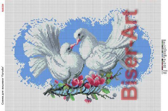 Схема вышивки голубки