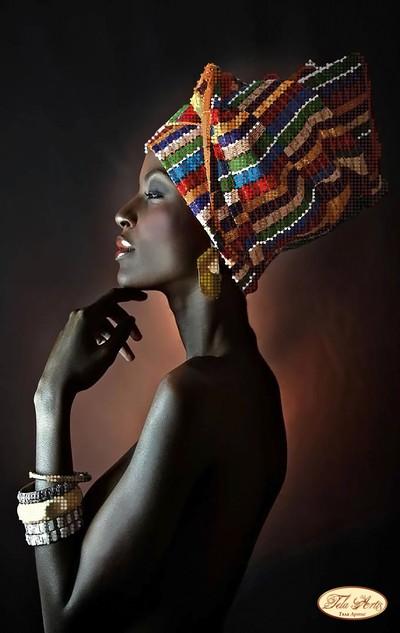 Вышивка африканская красавица