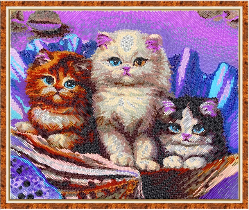 Вышивка бисером схемы котенок