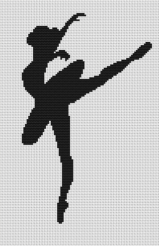 Вышивка крестом балерина черным