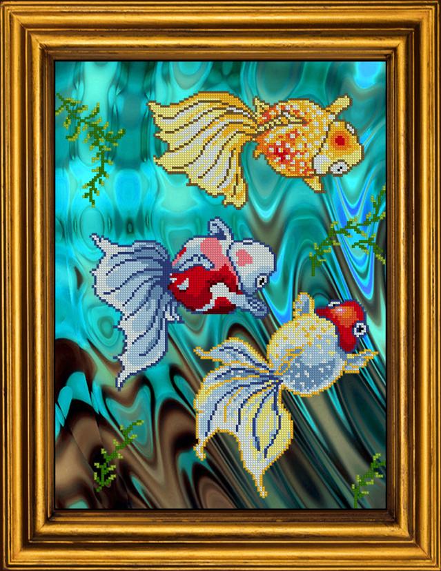 Набор вышивки золотых рыбок