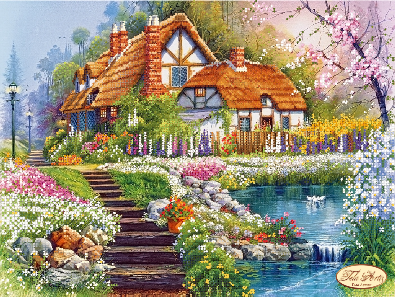 Вышивка бисером схема дом