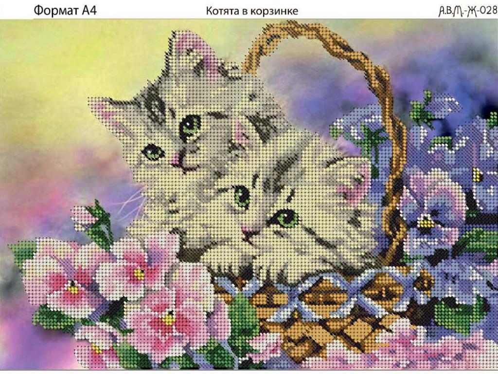 Схемы котят для вышивки бисером