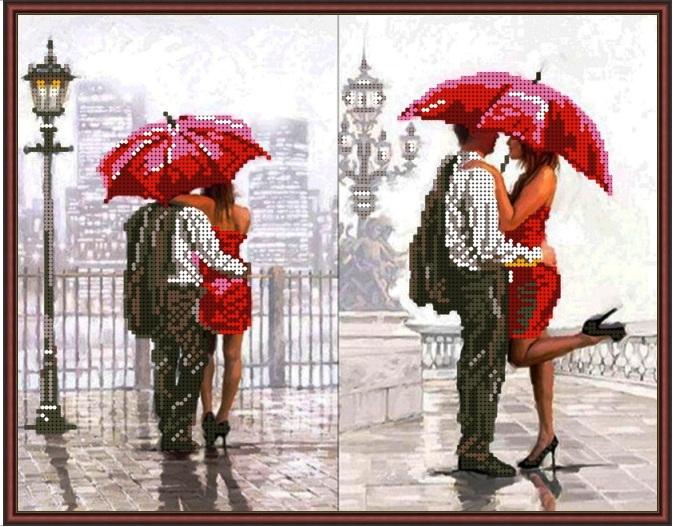 Красный зонт схемы вышивки