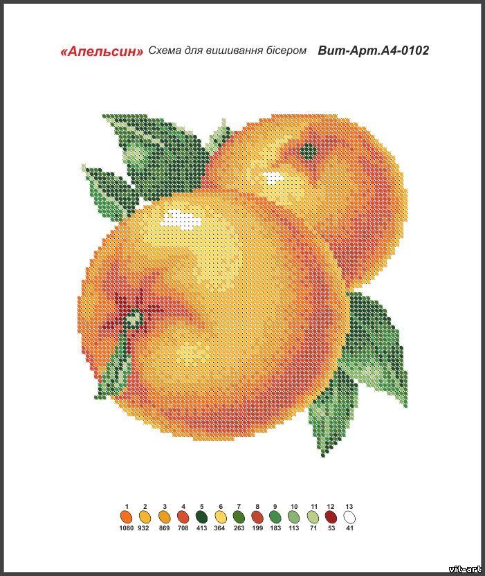 Схема вышивки апельсинов крестом