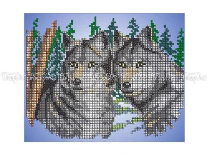 Схемы вышивки с двумя волками