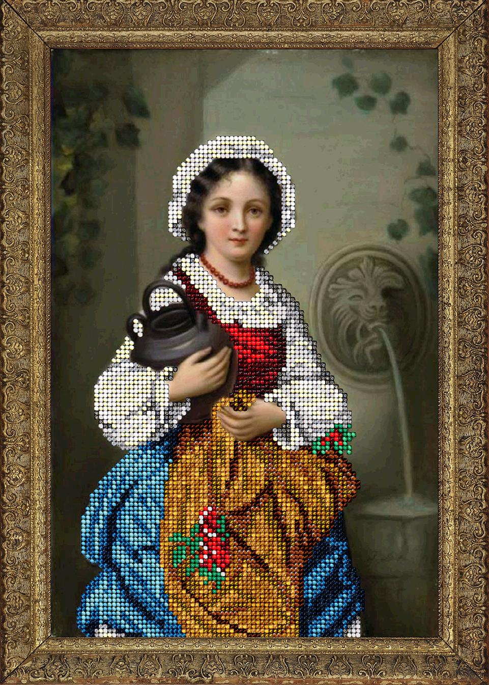 вышивка бисером девушка с коромыслом